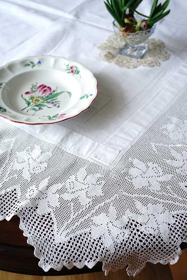 アンティークの見事な水仙のクロッシュレースのテーブルクロス130×130cm gla-1164