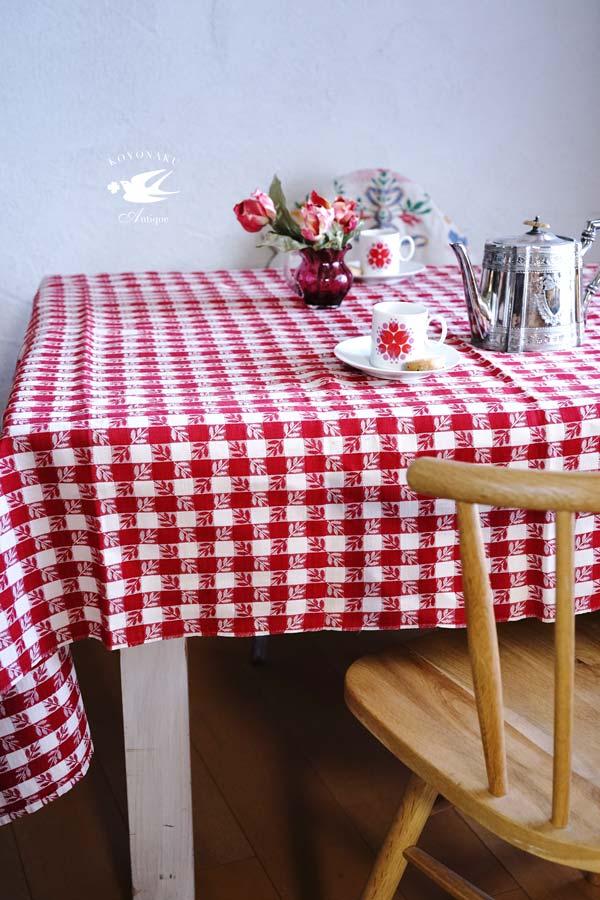 ヴィンテージの格子にリーフ織り込まれたリネンのテーブルクロス185×130cm gli-0294