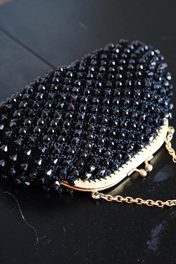 イギリスの手編みガラスビーズのバッグ13×21cm glu-0022
