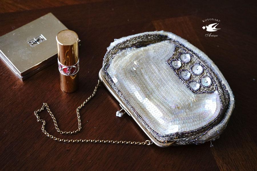 アールデコのスパンコールとビーズとメタル糸のバッグW16×H12.5cm gb-293