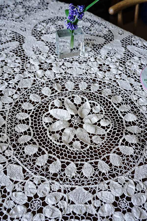 アンティークニードルレースの円形テーブルレースW155cm 19C後期 gla-1174