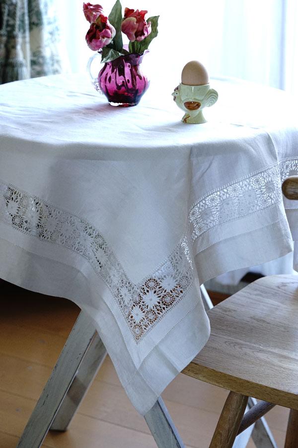 アンティークリネンのドロンワーク刺繍のテーブルクロス91×89cm ge-846