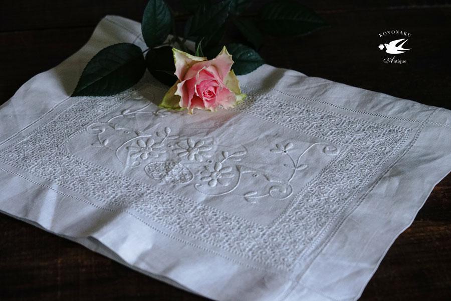 アンティークリネンにドロンワーク刺繍の見事なナイティーケース44×34×7cm ge-847