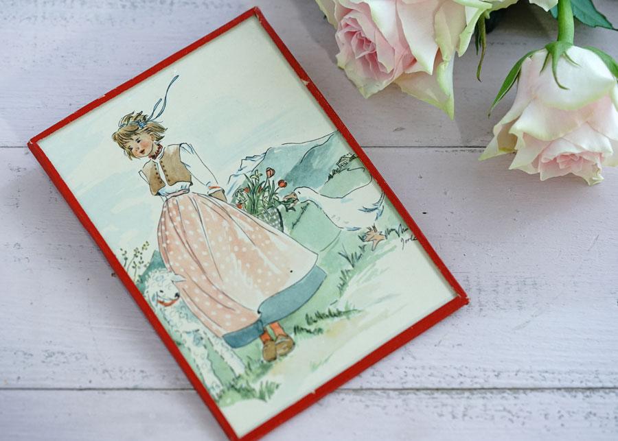 ガラスフレーム入り美しいポストカード少女とあひると羊 1950年代gh-245