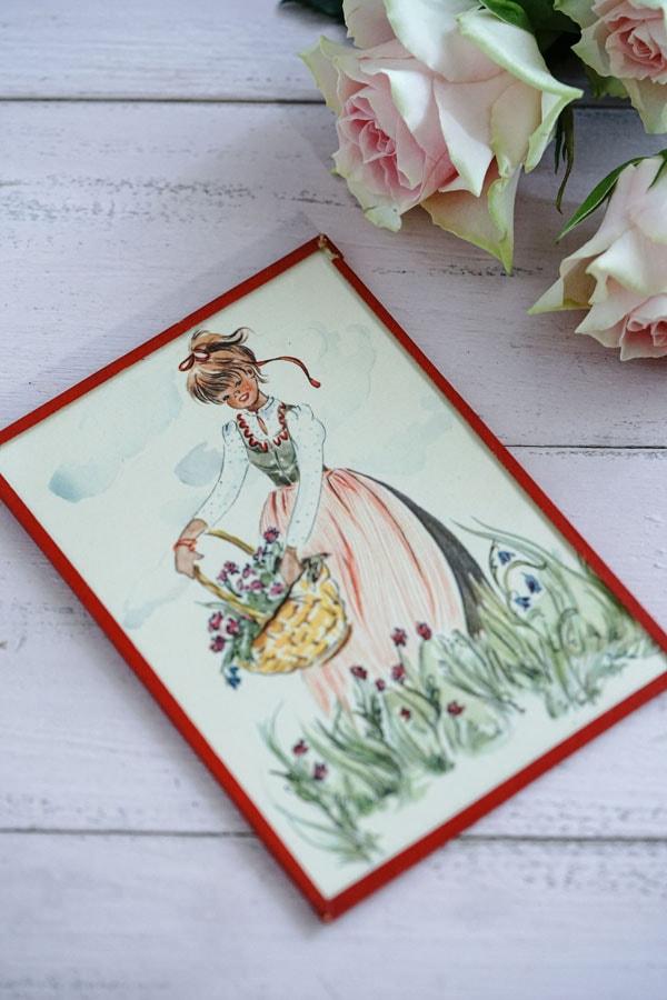 ガラスフレーム入り美しいポストカード花籠を持つ少女 1950年代gh-248