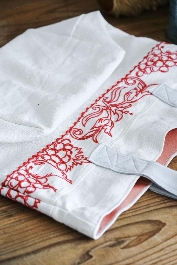 アンティークフレンチリネンにフルーツ刺繍棚飾りのオリジナルトートバッグW42×L35cm gb-295