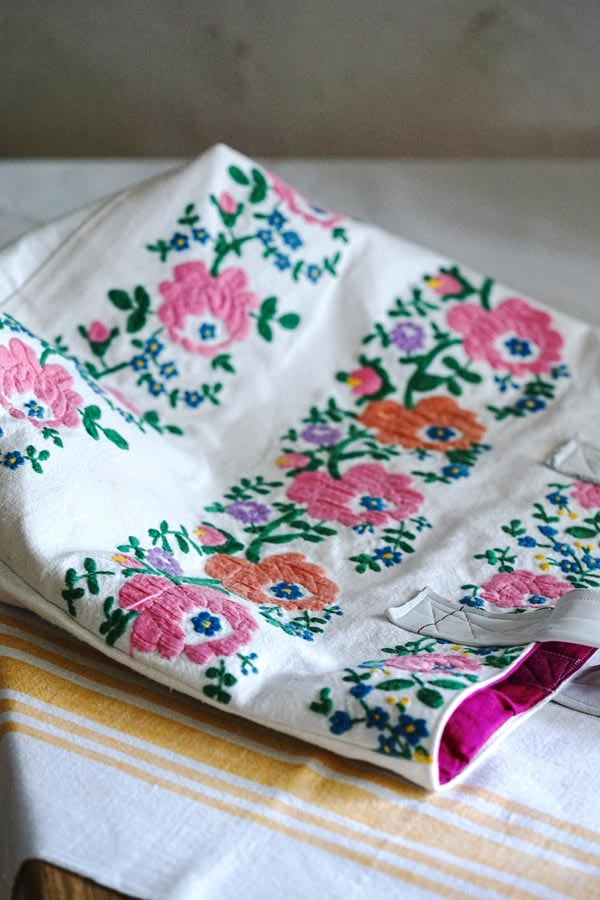 ハンガリーアンティーク刺繍にフレンチリネンこよなくハンドメイドバッグge-865
