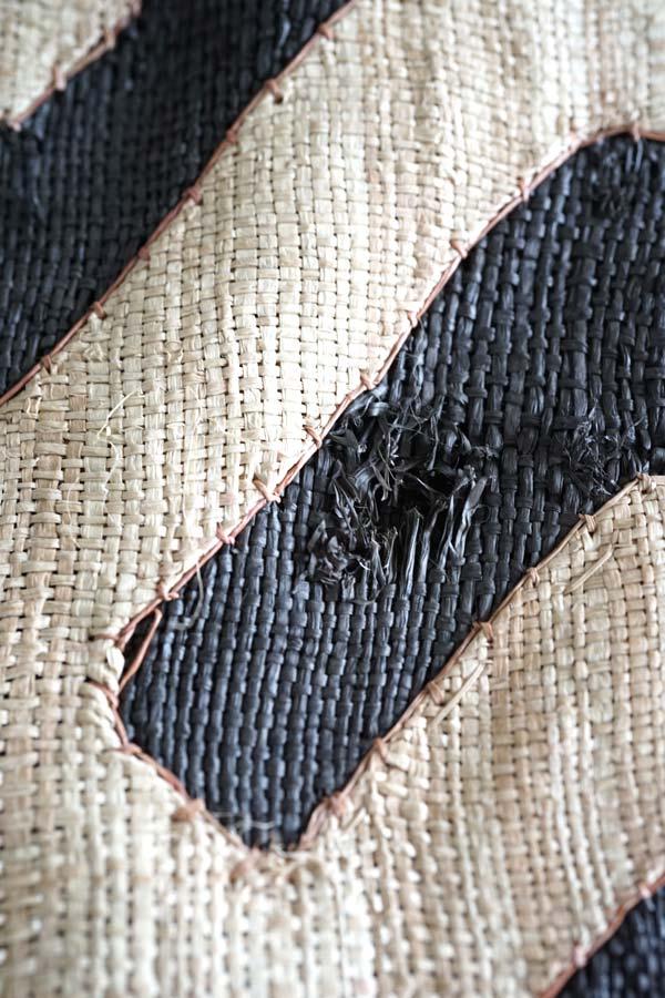 アフリカコンゴクバ族のラフィアのアップリケ敷物 395×59cm ge-756