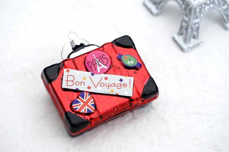 リバティクリスマスガラスオーナメント パリ旅行のスーツケース gx-463