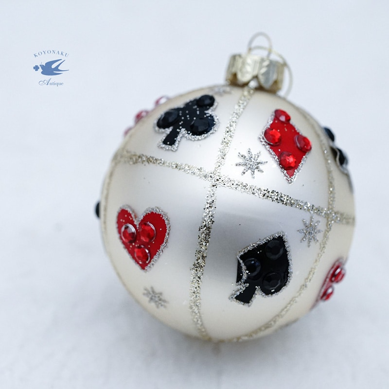 リバティクリスマスガラスオーナメント ビジュー付きトランプgx-469