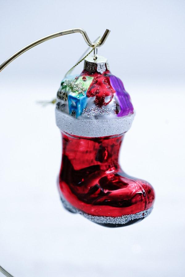 リバティクリスマスガラスオーナメント ガラスのクリスマスソックスH9.2cm gx-473