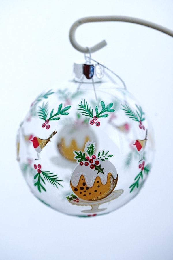 リバティクリスマスガラスオーナメント クリスマスプラムプディングW8cm gx-478