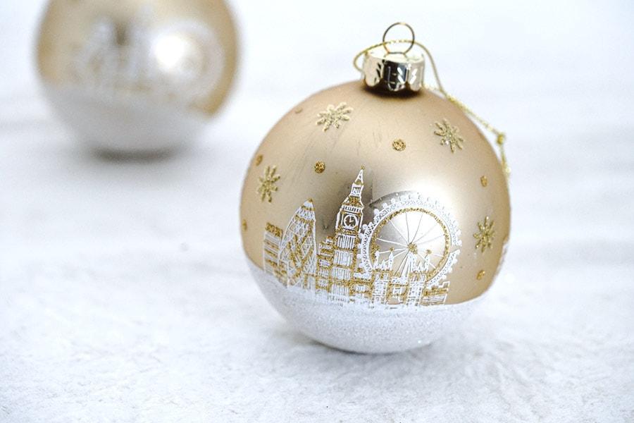 リバティクリスマスガラスオーナメント ロンドンのサイトシーン gx-480