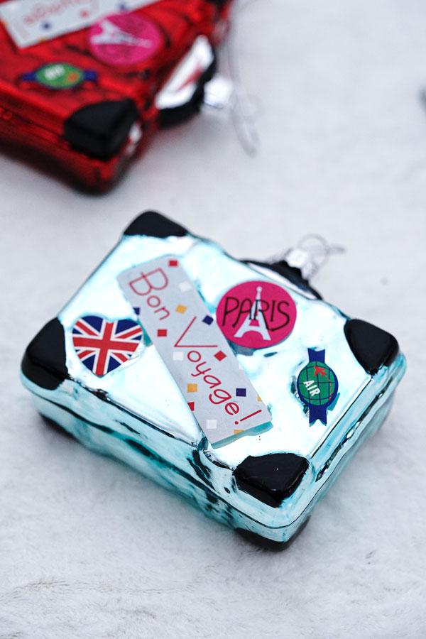 リバティクリスマスガラスオーナメントパリ旅行のスーツケース gx-489