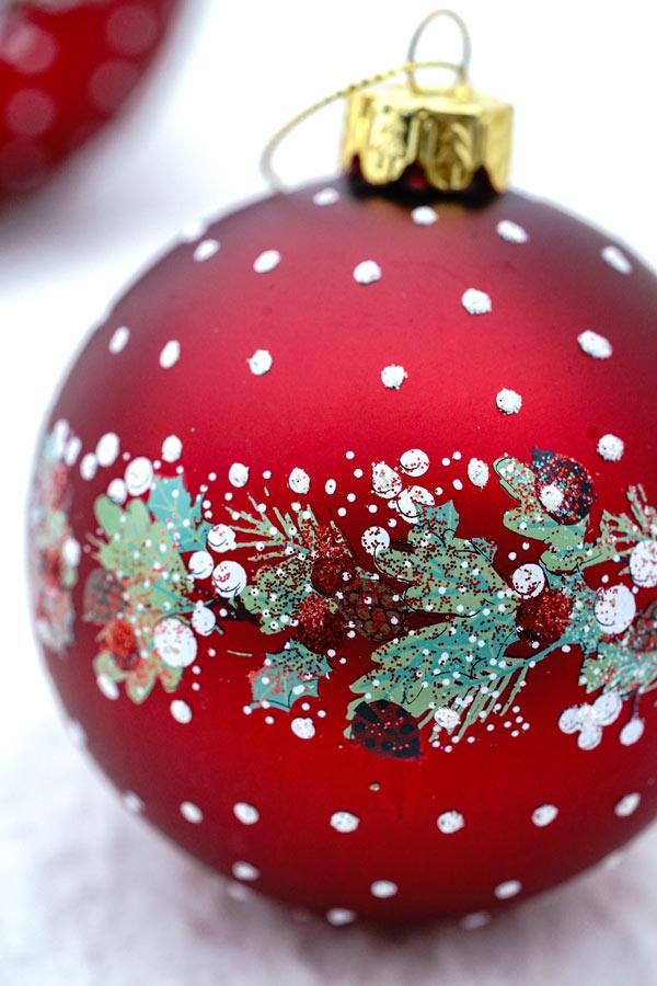リバティクリスマスガラスオーナメント レッドにベリーリーフW8cm gx-493
