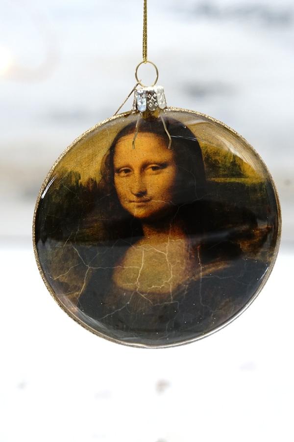 リバティクリスマスガラスオーナメントモナ・リザ W10×D2.5cm gx-494