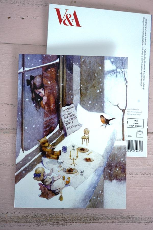 V&Aのクリスマスカード コマドリの到着12.5×17cm gx-502