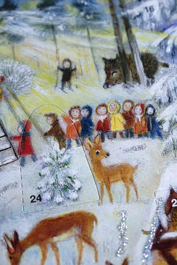 リバティアドベントカレンダーWoodland Snow Scene 35.5×27cm gx-510
