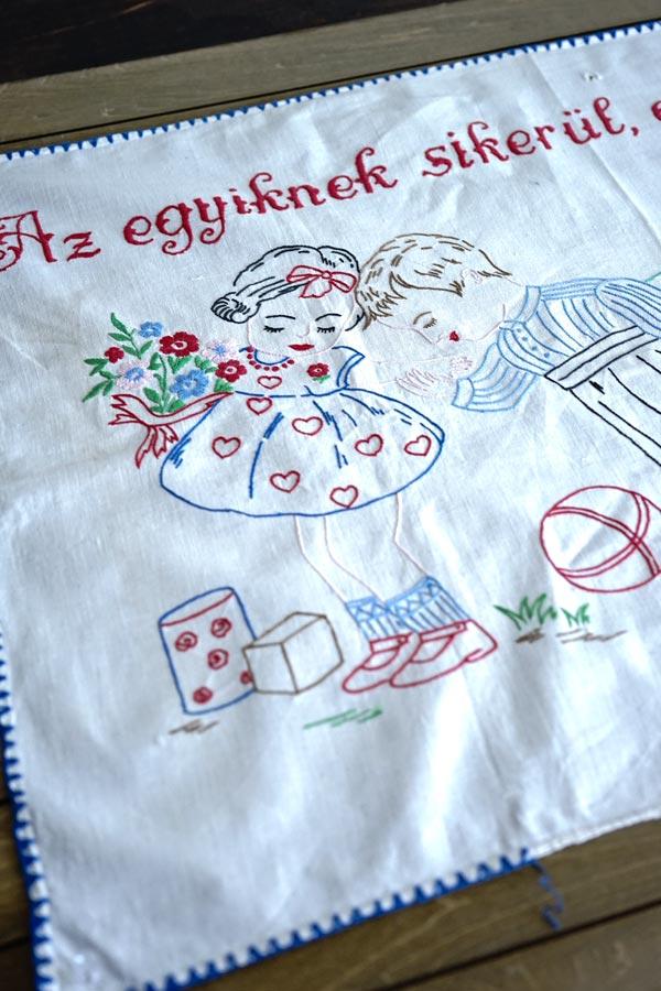 アンティークハンガリー刺繍のタペストリー80×52cm ge-870