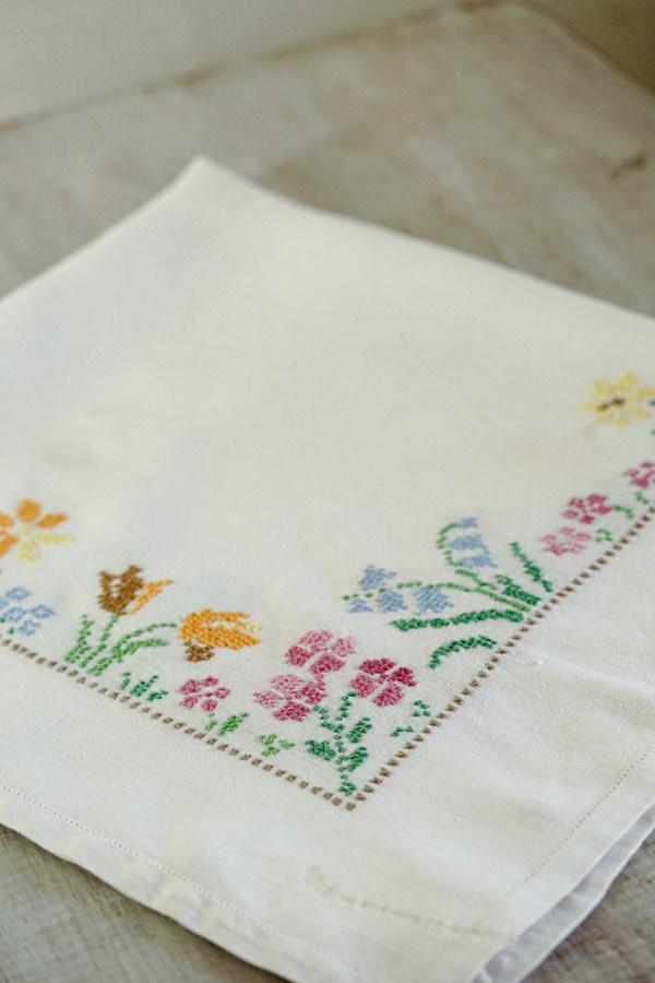 ヴィンテージイングリッシュガーデン刺繍のテーブルクロス82×80cm 1940年代頃 ge-876