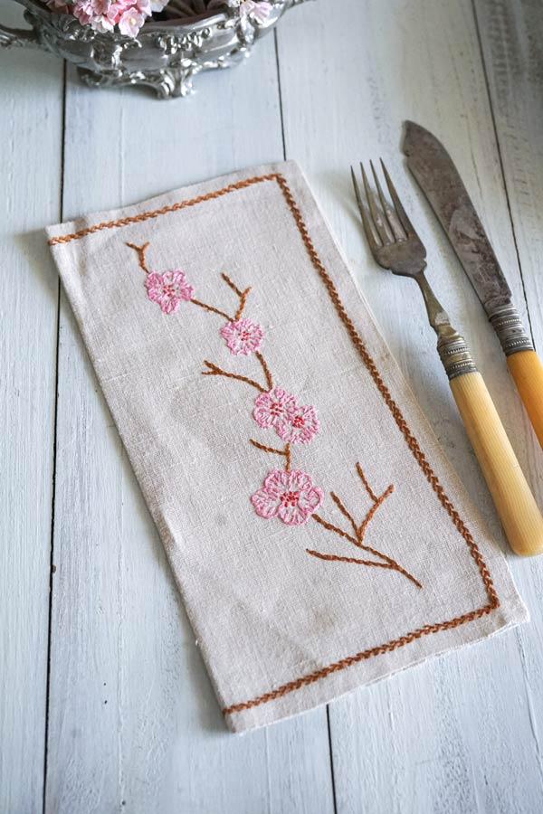 フランス手刺繍カトラリーケース ピンクのお花 23.5×12cm ge-882