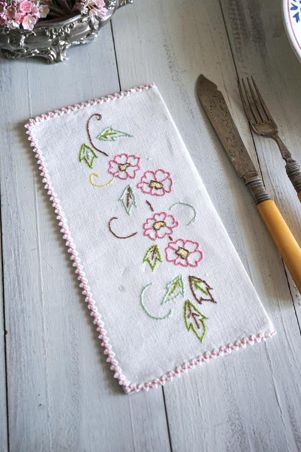 フランス手刺繍カトラリーケースピンクのお花 22.5×11.5cm ge-883