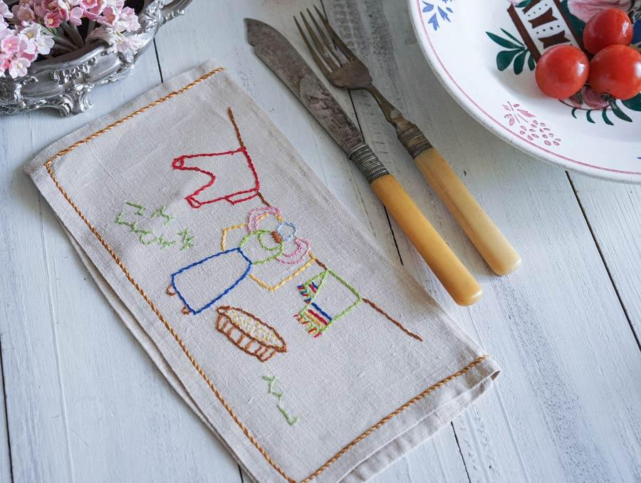 フランス手刺繍カトラリーケースお洗濯 22.5×12.5cm ge-884