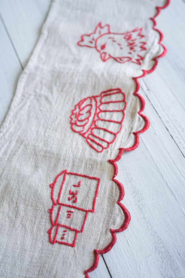 フランスアンティークキッチン刺繍棚飾り94×13.5cm ge-887