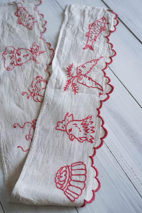 フランスアンティークキッチン刺繍棚飾り100×13.5cm ge-888