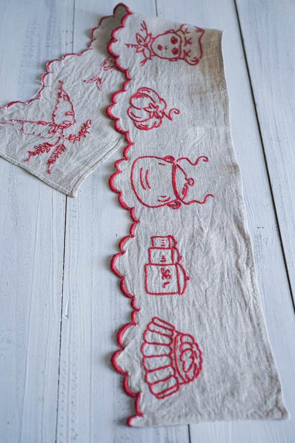 フランスアンティークキッチン刺繍棚飾り76×13.5cm ge-889