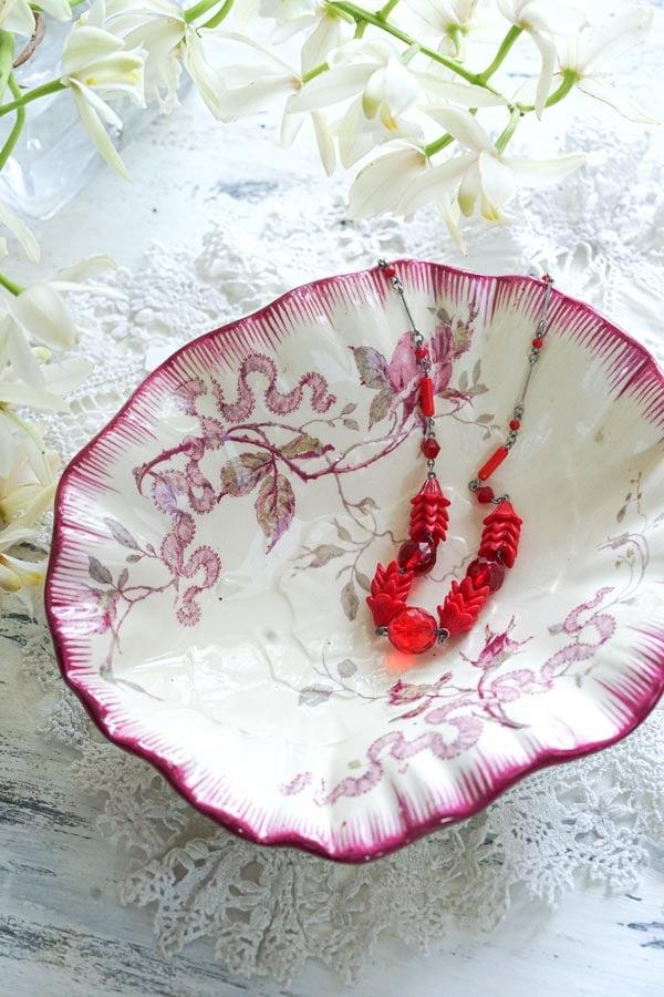 フランスアンティークGIEN薔薇のラヴィエプレート19×16×5cm gc-867