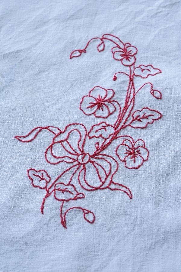 パンジーにリボンのフランス刺繍マット27.5×21cm ge-891