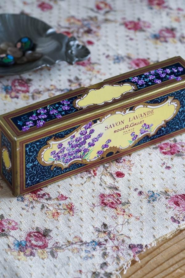 フランスアンティークSAVONボックス ラベンダーRogerGallet1930-50年代頃 gk-527