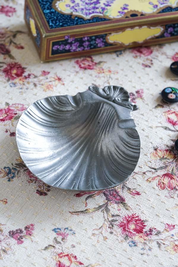 アンティーク錫シェル型アッシュトレイ15×12cm gk-528