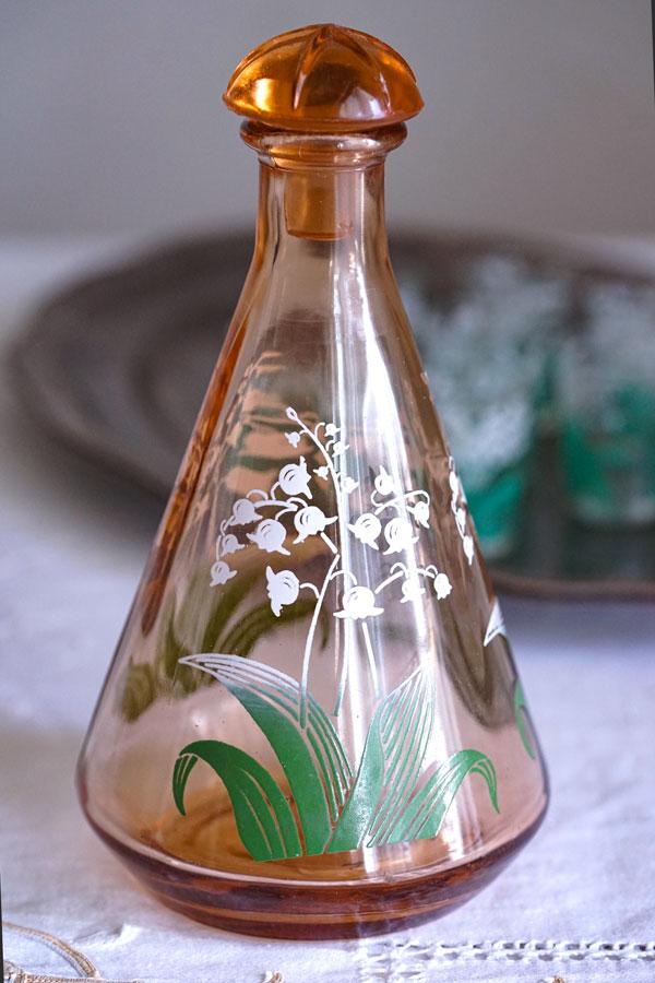 フランスすずらんのデカンタとショットグラス7個セット1930−40年代 gc-885