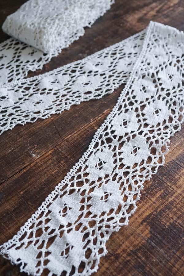 アンティーク幅広手編みレーストリムW12.5×100cm gla-1287