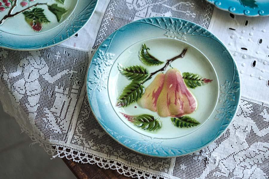 アアンティークバルボティーヌフルーツ梨のデザート皿20cm gc-901