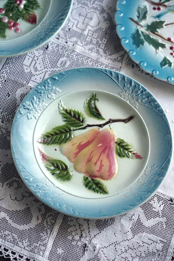 アンティークバルボティーヌフルーツ梨のデザート皿20cm gc-901