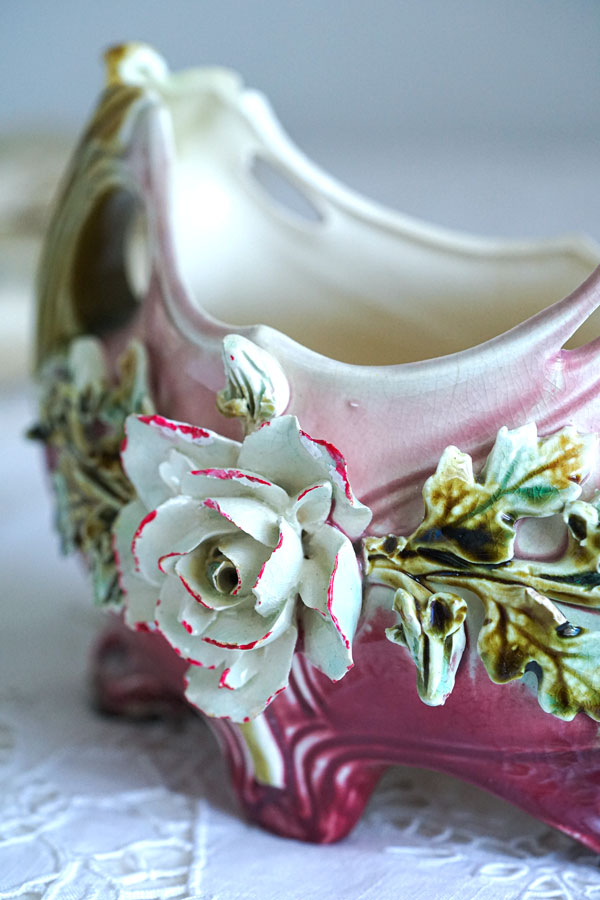 アンティークロココ調ポーセリン薔薇のジャルダニエールW21×D13×H15cm gc-924