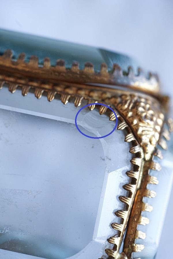 アンティークガラスジュエリーボックス 19C後期7.3×7.3×7.1cm ga-978