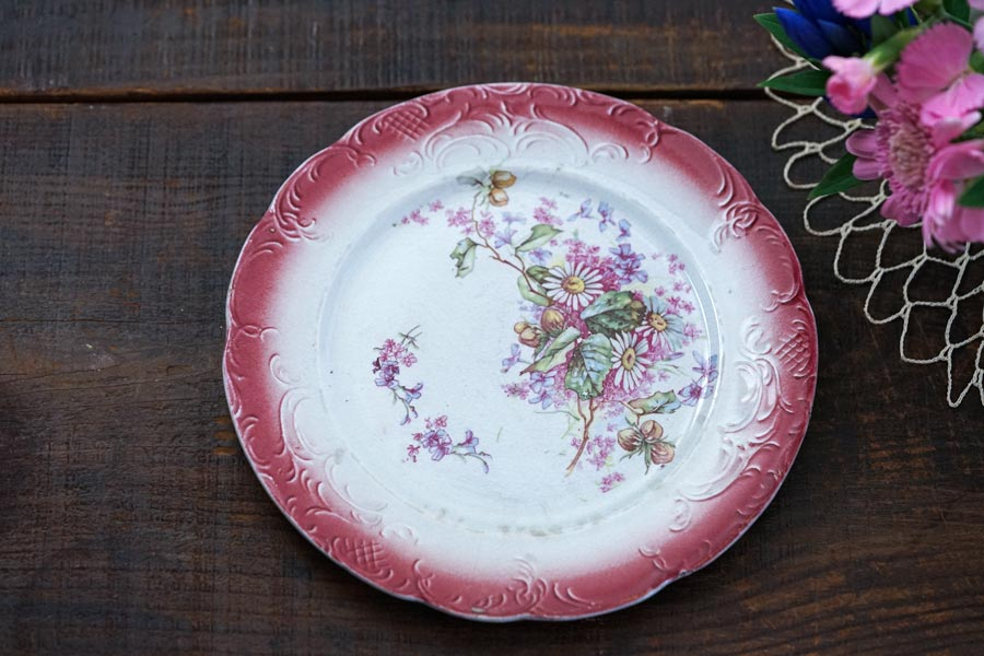 Faience Onnaing Nordのピンクのお花のデザート皿W20.5cm gc-927