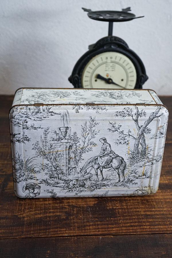 フランスの古いトワルドジョイのティン缶26×18×9.5cm gk-538
