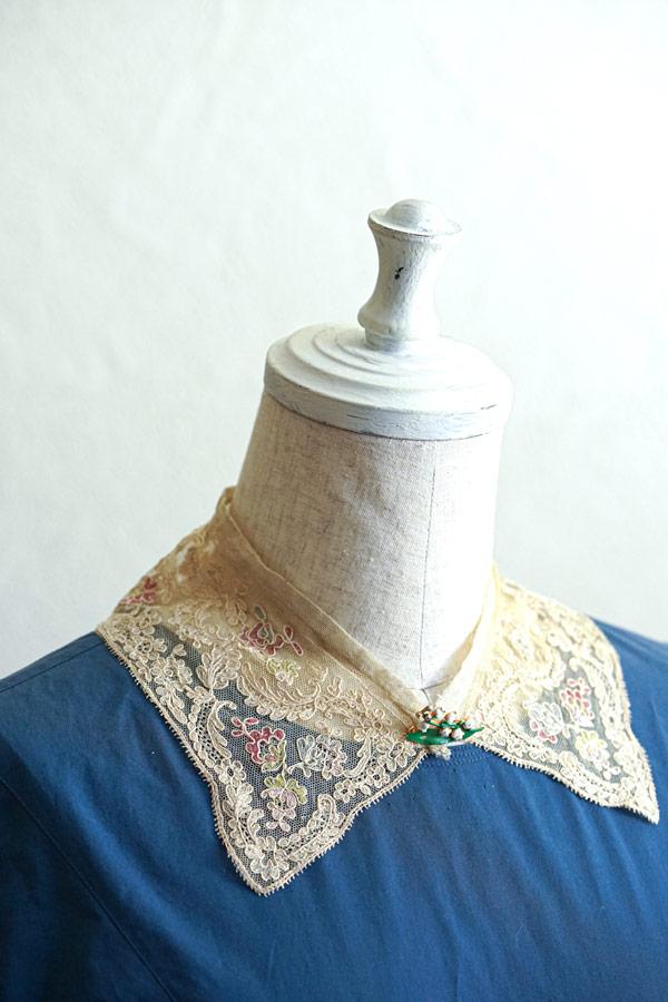 アンティークエンブロイダリーレース付け襟 gla-1346