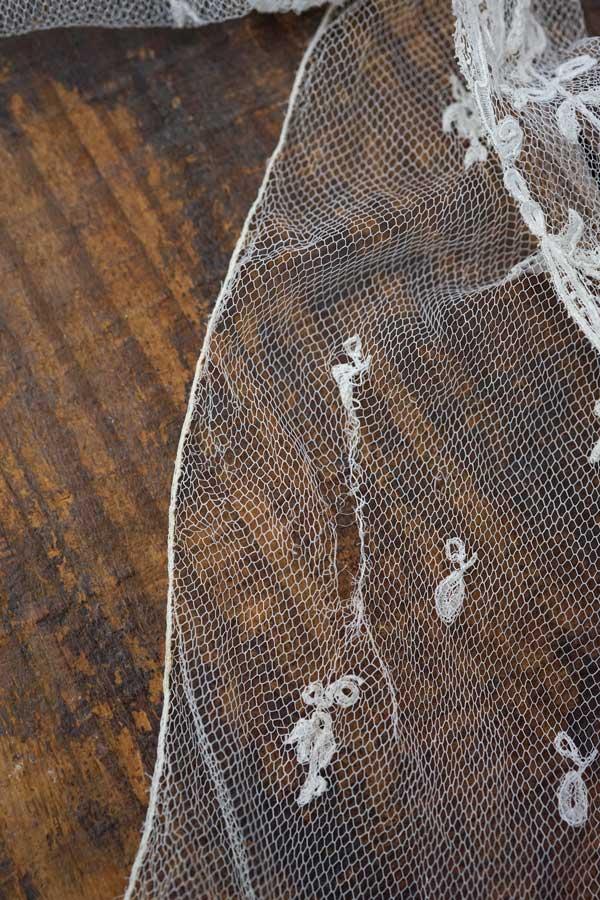 アンティークチュールにアプリカシオンレース205×15cm 19C中期 gla-1348