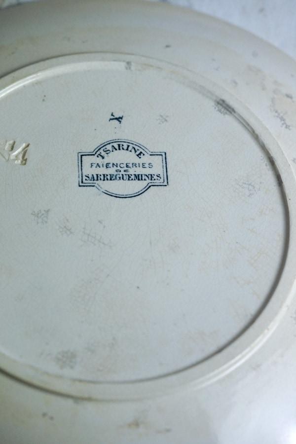 フランス アンティークTSARINEサルグミンヌ製 SARREGUEMINES平皿22.5cm gc-948