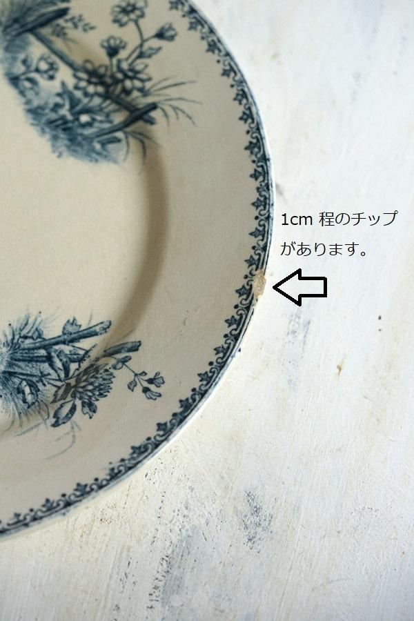 フランス アンティークTSARINEサルグミンヌ製 SARREGUEMINES平皿22.5cm gc-952