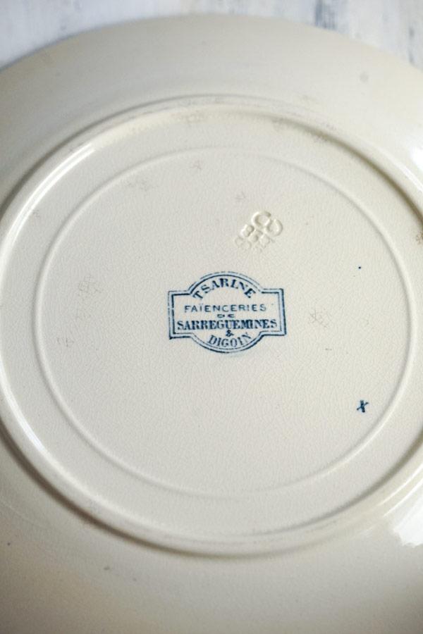 フランス アンティークTSARINEサルグミンヌ製 SARREGUEMINES平皿22.5cm gc-953