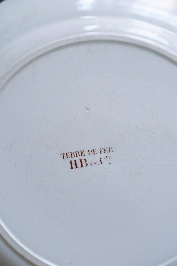 フランスアンティーク小鳥の平皿Terre de fer Hb&Cie製24.5cm gc-954