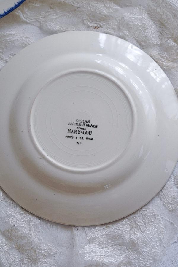 フランス MARY LOU DIGOIN SARREGUEMINESサルグミンヌ製22.5cm平皿gc-955