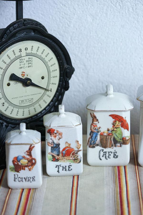 フランスアンティークイースターバニー陶器キャニスターセット1930年代頃 gc-957